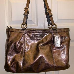 🎁 METALLIC GREY COACH purse